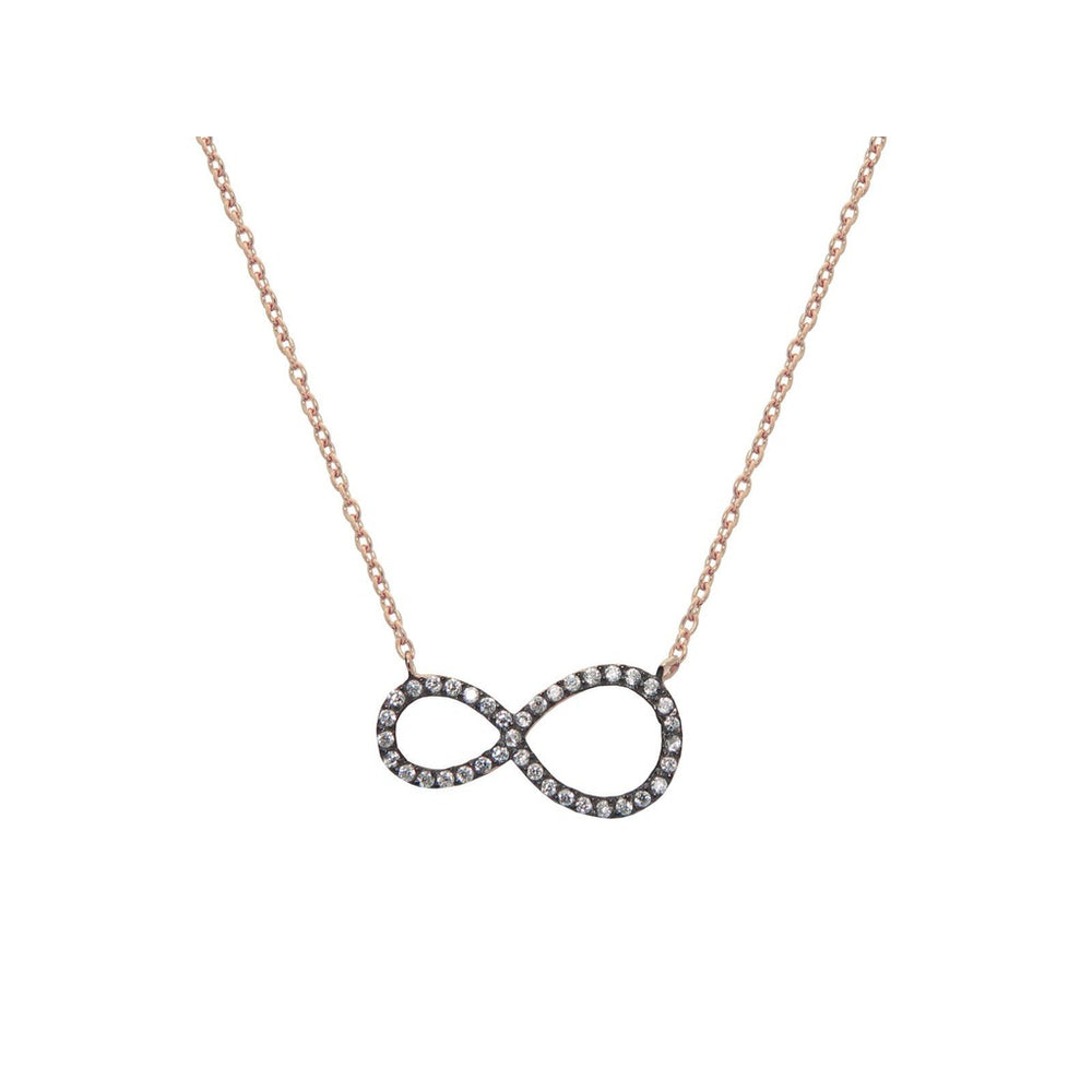 Sparkling Midnight Rose Infinity Necklace