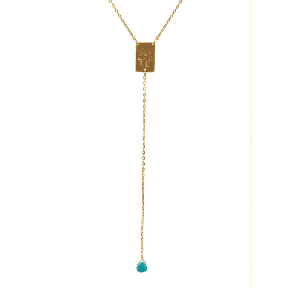 "Golden Hamsa Rosary Turquoise Stone Necklace: Length 16""+2"""