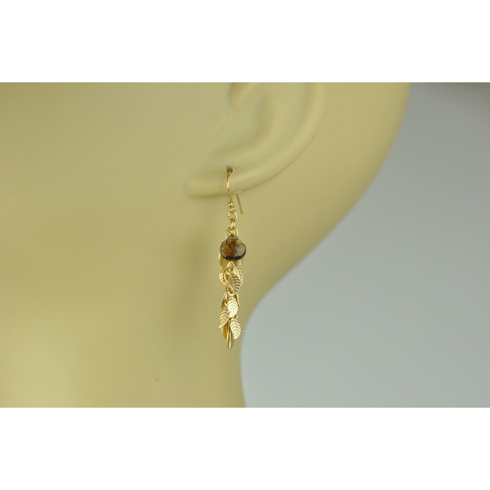Smoky Topaz And Leaf Cascade Earrings