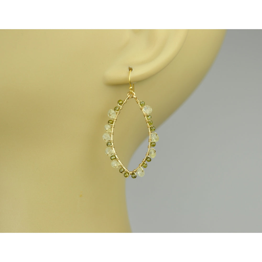 Green Tourmaline And Jade Wrapped Frame Earrings