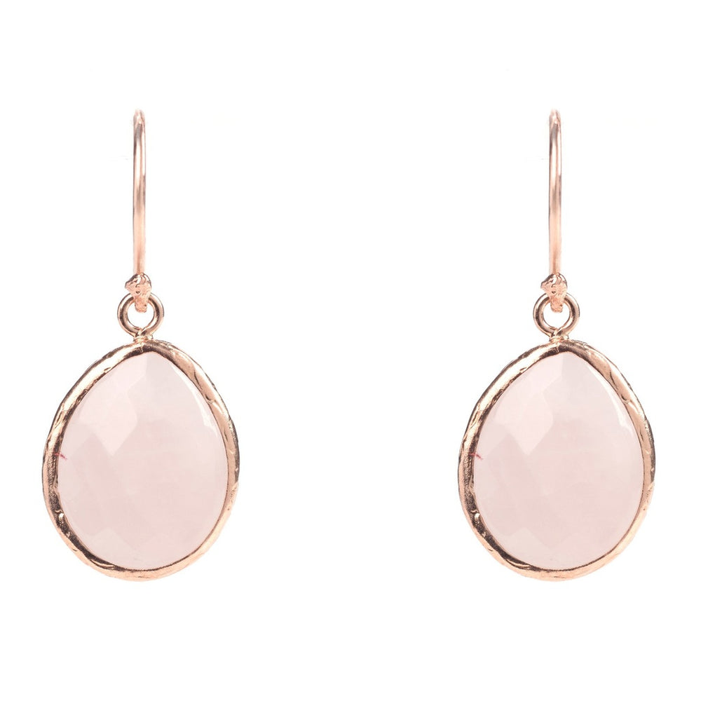 Rosegold Petite Drop Earring Rose Quartz