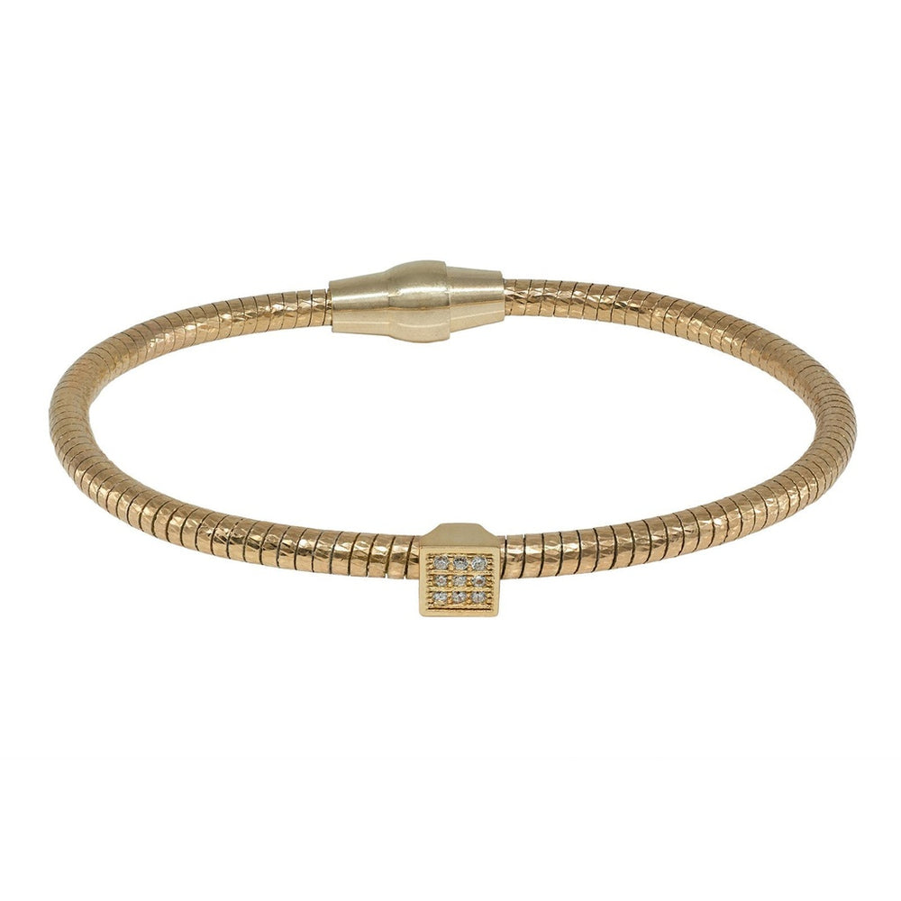CZ Square Tubo Gas Bracelet in Gold Plated Sterling Silver