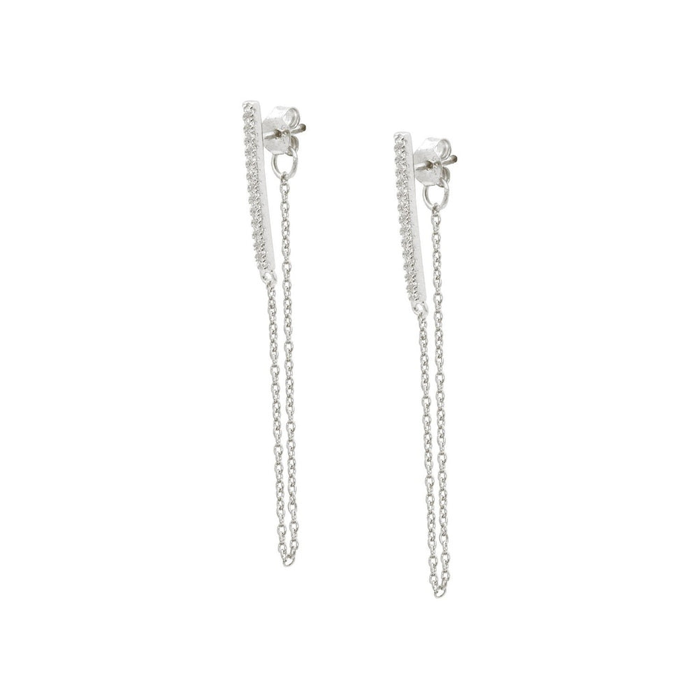 Cz Bar & Chain Earrings