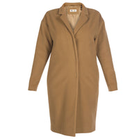 Camel Wool and Cashmere Blend Cocoon Coat