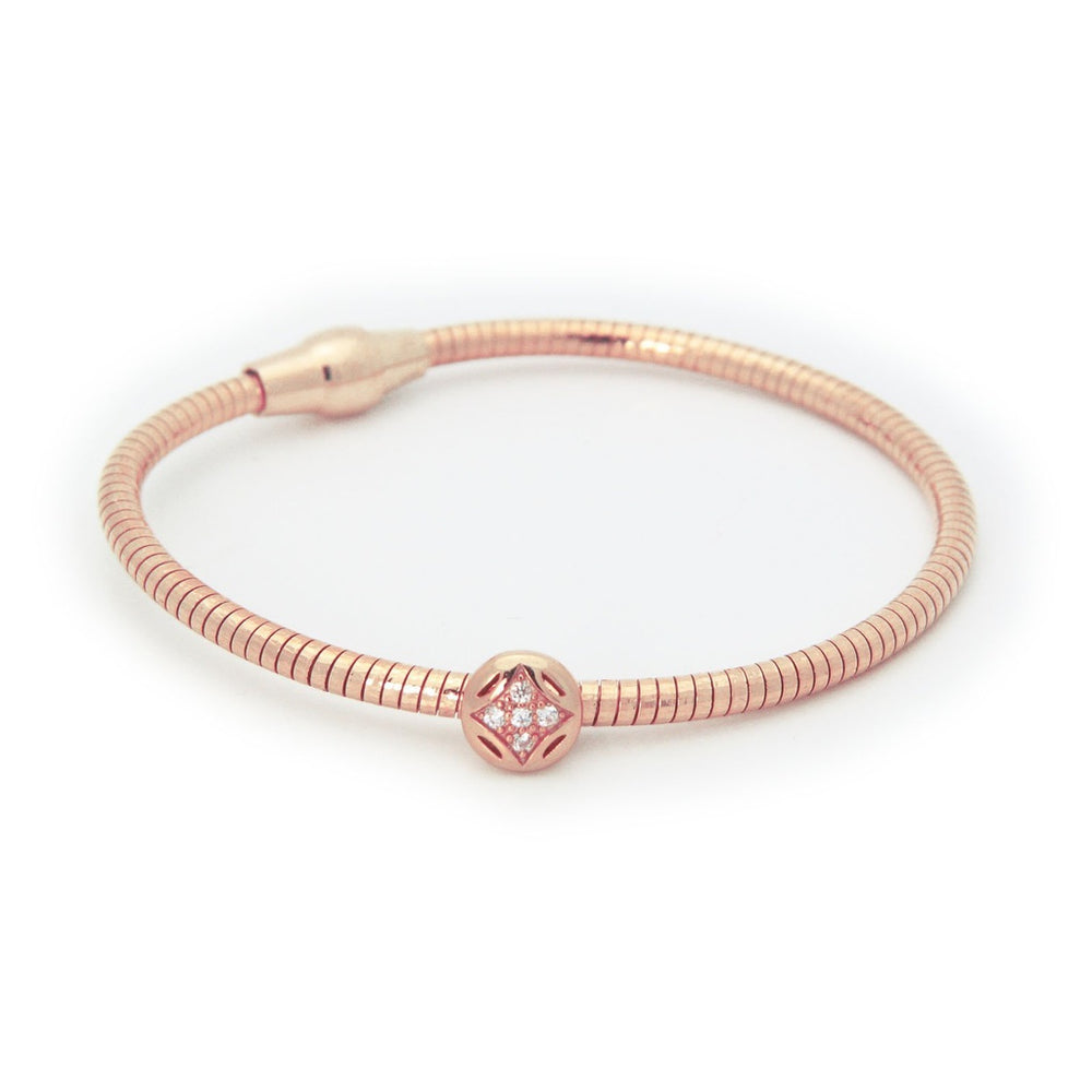 CZ Fleur Tubo Gas Bracelet  in Rose Gold Plated Sterling Silver