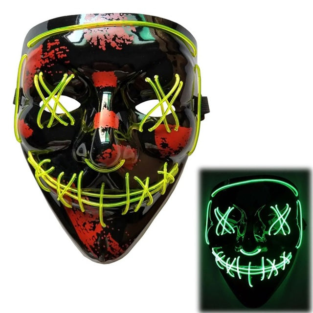 Gazuntai Halloween LED Light Up Mask Many Options of Funny Masks Glow In Dark Or Horror
