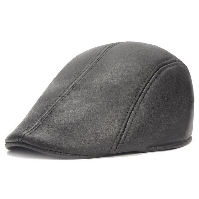 Men Faux Leather Beret Hat. Good for Golf Driving Cabbie Flat Cap