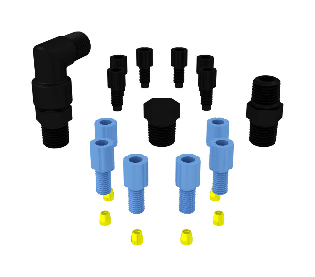 EZwaste Fittings, 1/8'' OD Fittings & 1/4'' Fittings Pack