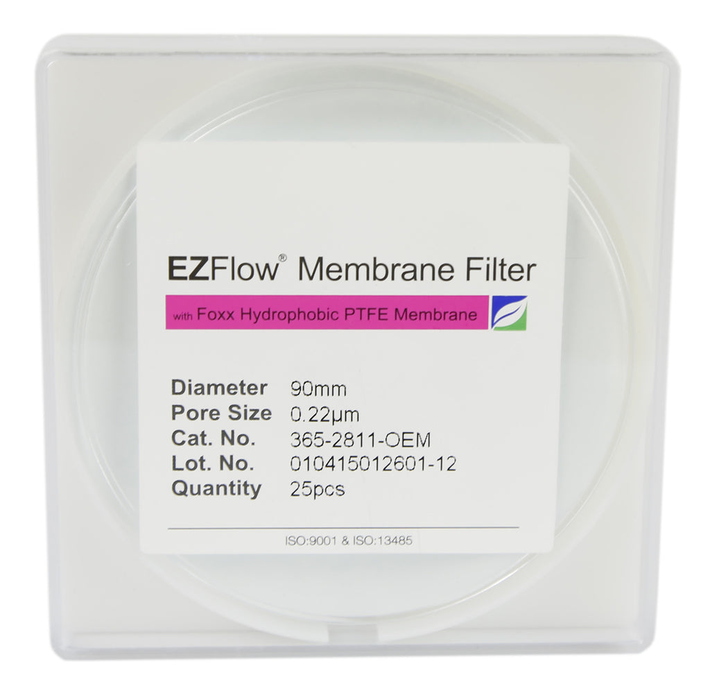EZFlow® Membrane Disc Filter, 0.22µm Hydrophobic PTFE, 90mm, 25/pack