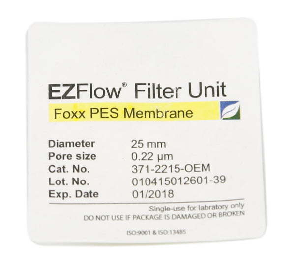 EZFlow® Syringe Filter, 0.22µm PES, 25mm, Sterile, 100/pack