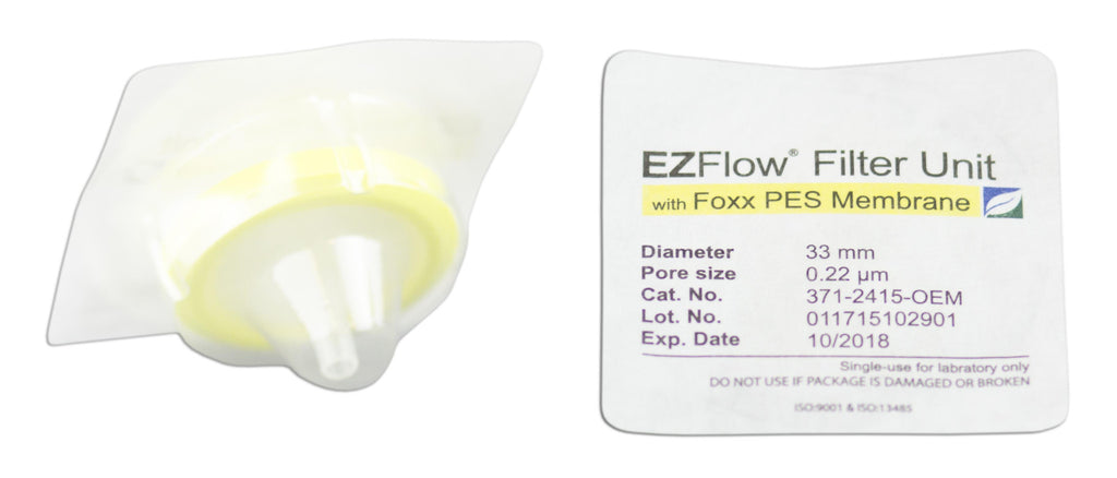 EZFlow® Syringe Filter, 0.22µm PES, 33mm, Sterile, 100/pack