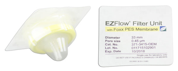 EZFlow® Syringe Filter, 0.45µm PES, 33mm, Sterile, 100/pack
