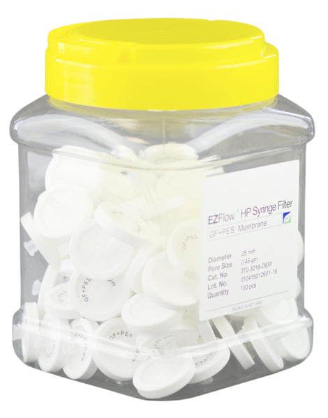 EZFlow® High Particulate Syringe Filter, 0.45µm PES w/ Glass Fiber Prefilter, 25mm, 100/pack