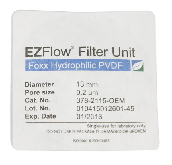 EZFlow® Syringe Filter, 0.22µm Hydrophilic PVDF, 13mm, Sterile, 100/pack