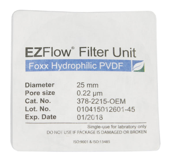 EZFlow® Syringe Filter, 0.22µm Hydrophilic PVDF, 25mm, Sterile, 100/pack