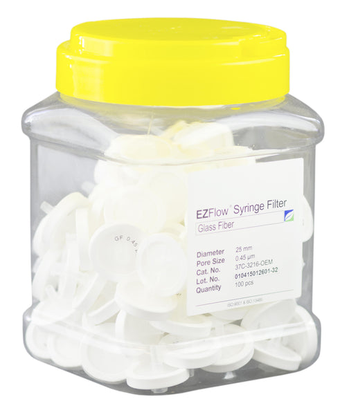EZFlow® Syringe Filter, 0.45µm Glass Fiber, 25mm, 100/pack