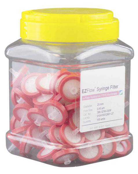 EZFlow® Syringe Filter-Sample Prep, 0.45µm Hydrophilic PTFE, 25mm, 100/pack