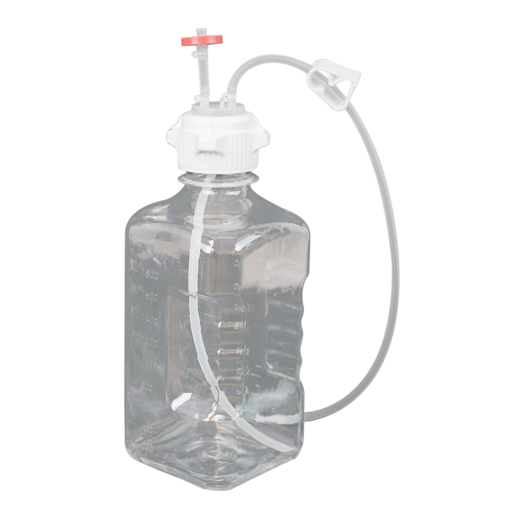 EZBio, Single Use Bottle Assembly, 2000mL, 53mm VersaCap, PETG, Vented w/ Dip Tube, 10/Pack