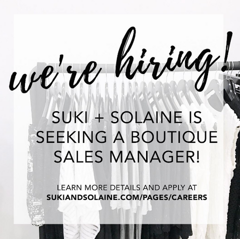 Suki and Solaine women's ethical fashion now hiring store boutique sales manager in Chicago