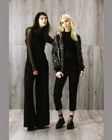 Suki + Solaine Veronika Jumpsuit, Single Mesh Turtleneck, Ivan Bomber Jacket. Women's Contemporary USA Made Fashion