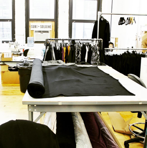 Suki and Solaine in the studio designing ethically-made women's contemporary fashion clothing