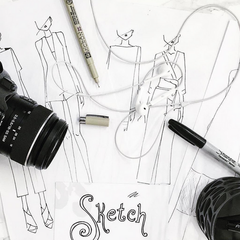 Suki and Solaine, ethically made women's clothing made in Chicago, USA. Fashion sketching.