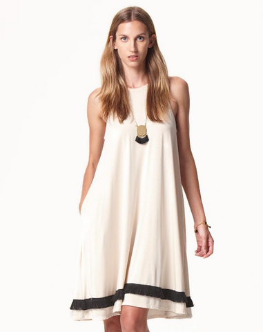 Suki and Solaine Fringe Sleeveless Trapeze Dress from ethically made women's clothing brand made in the USA