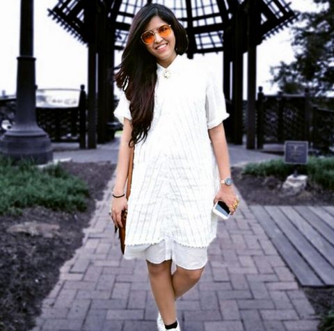 The Chic Research fashion blogger wearing Suki and Solaine ethically made womens clothing, the moth short sleeve tee dress