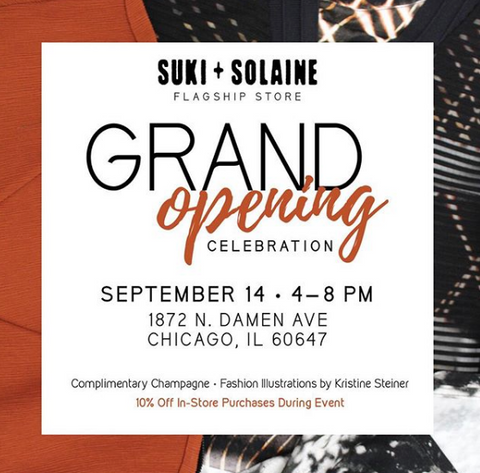 Grand opening party suki and solaine  ethically made womens fashion clothing usa