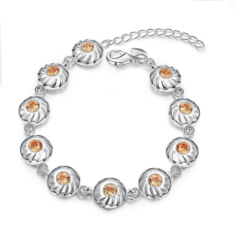 Silver Flat Beads Crystal Charms Bracelet
