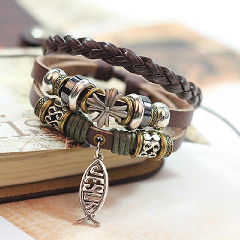 "Multilayer ""Cross"" Charm Wrap Bracelet"