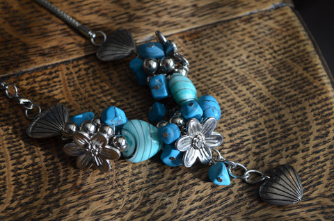 Blue and Silver hearts and flowers necklace