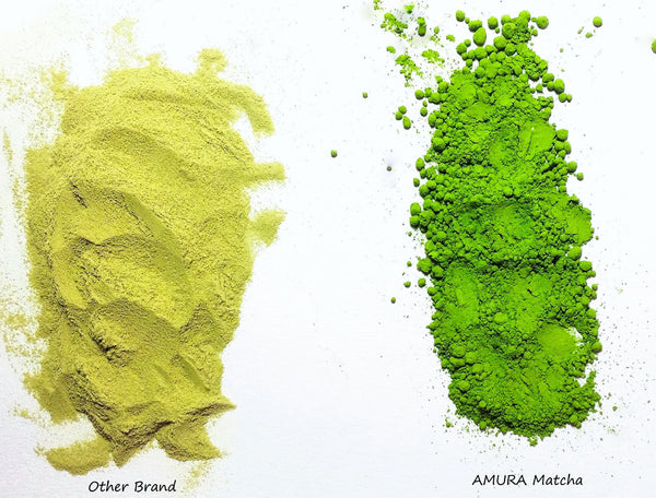 Amura Ceremonial Matcha Vibrant green compared to other matcha