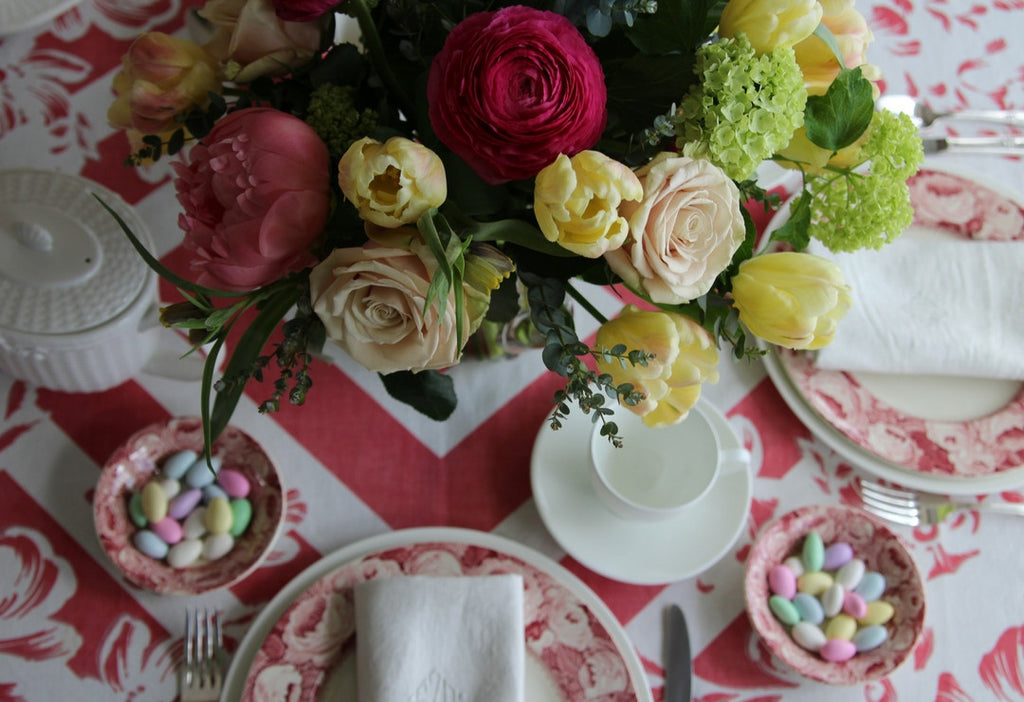 Cottage Brunch Tables Setting with Vintage Royal Staffordshire