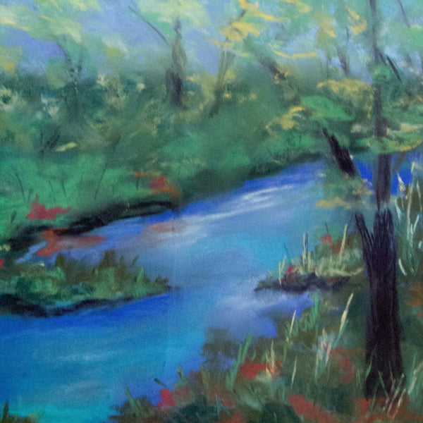Hits of golden light along the creekbed in Spring Dance by Boulder Artist Diana Tripp