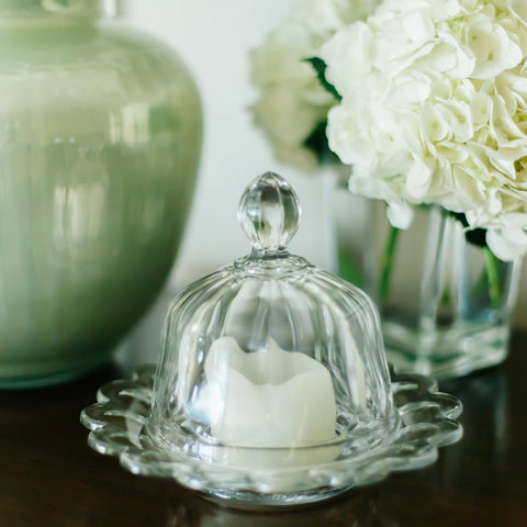 Glass Covered Candle Holder/Butter Dish