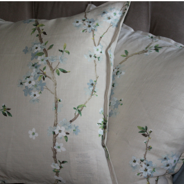 asian inspired blue blossoms in linen pillow