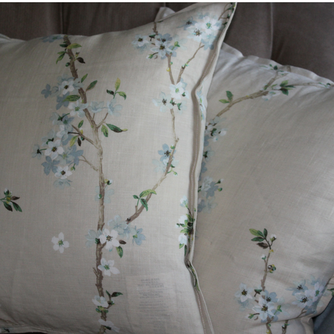 Asian-Inspired Blue Floral Linen Pillow
