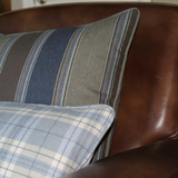 blue and brown lambswool stripe pillow