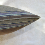 blue and brown lambswool stripe pillow side view