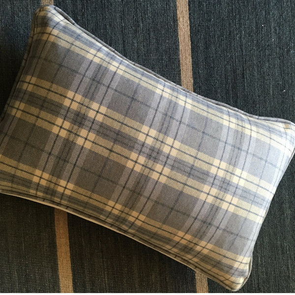 blue wool tartan lumbar pillow front