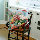 blue floral cotton matelasse on chair