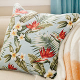 blue palm barkcloth pillow ivory back on sofa