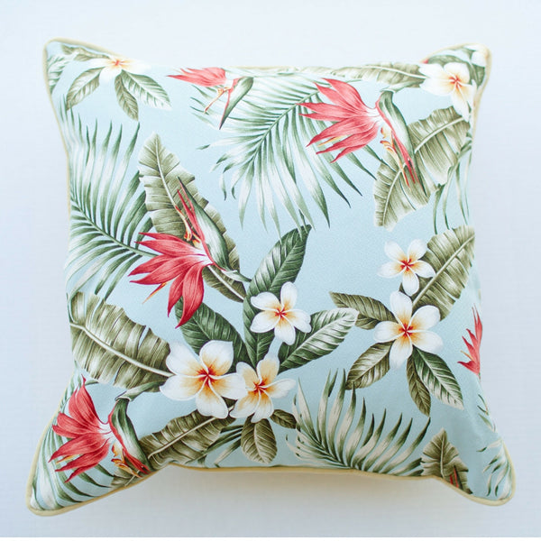 blue palm barkcloth pillow front