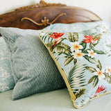 blue palm barkcloth pillow collection