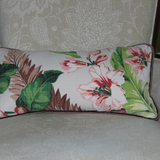 brown floral vintage barkcloth lumbar pillow detail