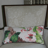 brown floral vintage barkcloth lumbar pillow on chair