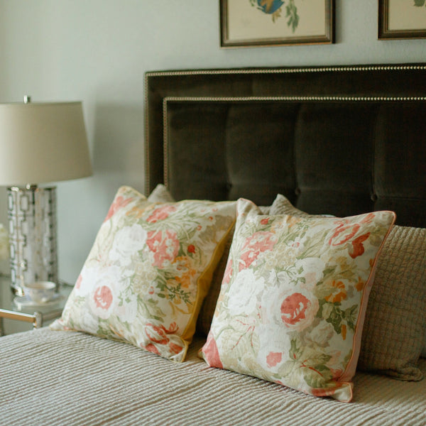 coral floral linen pillow satin back pair on bed