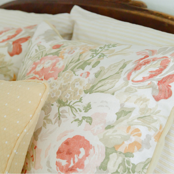 coral floral linen pillow detail