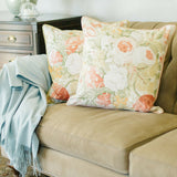 coral floral linen pillow satin back pair on sofa